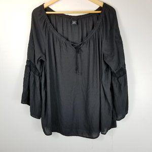 Torrid Black Floral Embroidery Flowy Tie Top